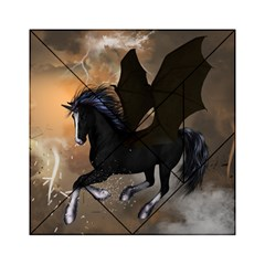 Awesome Dark Unicorn With Clouds Acrylic Tangram Puzzle (6  x 6 )