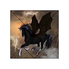 Awesome Dark Unicorn With Clouds Acrylic Tangram Puzzle (4  x 4 )