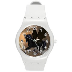 Awesome Dark Unicorn With Clouds Round Plastic Sport Watch (M)