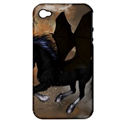 Awesome Dark Unicorn With Clouds Apple iPhone 4/4S Hardshell Case (PC+Silicone)