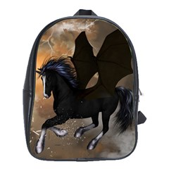 Awesome Dark Unicorn With Clouds School Bags (XL)