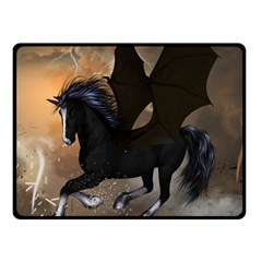 Awesome Dark Unicorn With Clouds Double Sided Fleece Blanket (Small)