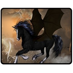 Awesome Dark Unicorn With Clouds Double Sided Fleece Blanket (Medium)