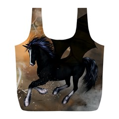 Awesome Dark Unicorn With Clouds Full Print Recycle Bags (L)
