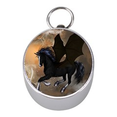 Awesome Dark Unicorn With Clouds Mini Silver Compasses