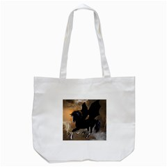 Awesome Dark Unicorn With Clouds Tote Bag (white)