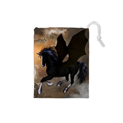 Awesome Dark Unicorn With Clouds Drawstring Pouches (Small)