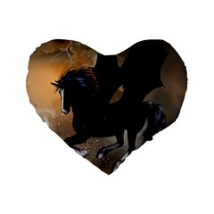 Awesome Dark Unicorn With Clouds Standard 16  Premium Flano Heart Shape Cushions