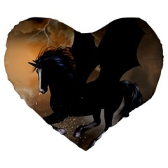 Awesome Dark Unicorn With Clouds Large 19  Premium Flano Heart Shape Cushions
