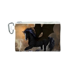 Awesome Dark Unicorn With Clouds Canvas Cosmetic Bag (S)