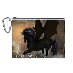 Awesome Dark Unicorn With Clouds Canvas Cosmetic Bag (L)