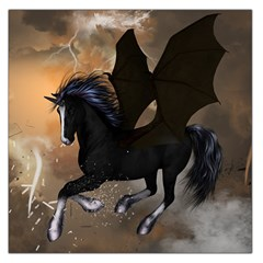Awesome Dark Unicorn With Clouds Large Satin Scarf (square)