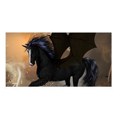 Awesome Dark Unicorn With Clouds Satin Shawl