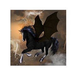 Awesome Dark Unicorn With Clouds Small Satin Scarf (square)