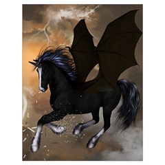 Awesome Dark Unicorn With Clouds Drawstring Bag (Large)