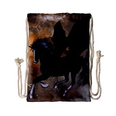 Awesome Dark Unicorn With Clouds Drawstring Bag (Small)