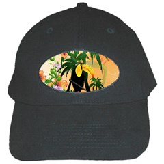 Cute Toucan With Palm And Flowers Black Cap