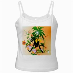 Cute Toucan With Palm And Flowers White Spaghetti Tanks