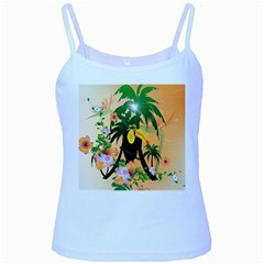 Cute Toucan With Palm And Flowers Baby Blue Spaghetti Tanks