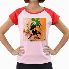 Cute Toucan With Palm And Flowers Women s Cap Sleeve T Shirt