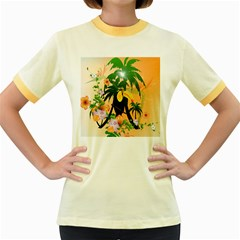 Cute Toucan With Palm And Flowers Women s Fitted Ringer T Shirts