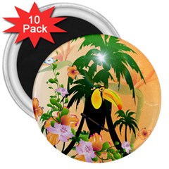 Cute Toucan With Palm And Flowers 3  Magnets (10 pack)
