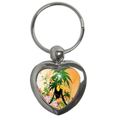 Cute Toucan With Palm And Flowers Key Chains (Heart)