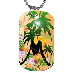 Cute Toucan With Palm And Flowers Dog Tag (one Side)