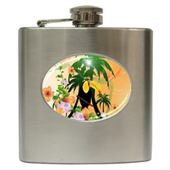 Cute Toucan With Palm And Flowers Hip Flask (6 oz)