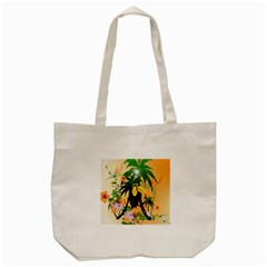 Cute Toucan With Palm And Flowers Tote Bag (Cream)