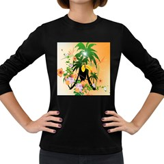 Cute Toucan With Palm And Flowers Women s Long Sleeve Dark T Shirts