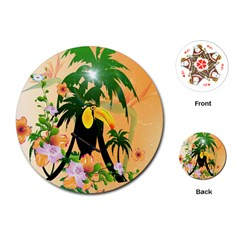 Cute Toucan With Palm And Flowers Playing Cards (Round)