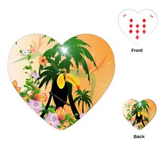 Cute Toucan With Palm And Flowers Playing Cards (Heart)