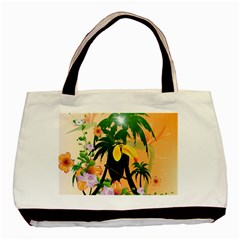 Cute Toucan With Palm And Flowers Basic Tote Bag