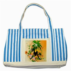 Cute Toucan With Palm And Flowers Striped Blue Tote Bag