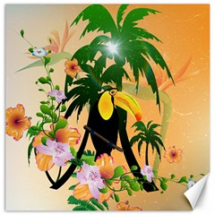 Cute Toucan With Palm And Flowers Canvas 12  x 12