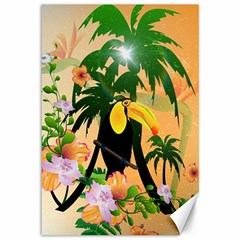 Cute Toucan With Palm And Flowers Canvas 12  X 18