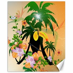 Cute Toucan With Palm And Flowers Canvas 16  x 20