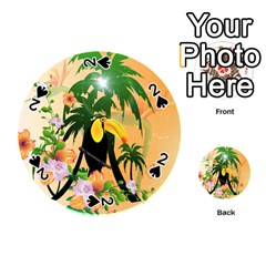 Cute Toucan With Palm And Flowers Playing Cards 54 (Round)