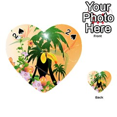 Cute Toucan With Palm And Flowers Playing Cards 54 (heart)