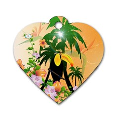 Cute Toucan With Palm And Flowers Dog Tag Heart (one Side)