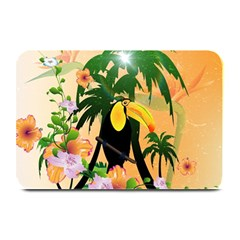 Cute Toucan With Palm And Flowers Plate Mats