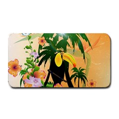 Cute Toucan With Palm And Flowers Medium Bar Mats