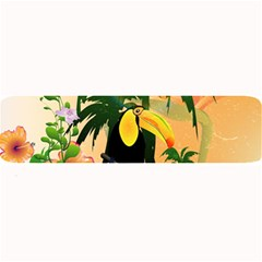 Cute Toucan With Palm And Flowers Large Bar Mats