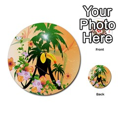 Cute Toucan With Palm And Flowers Multi-purpose Cards (Round)