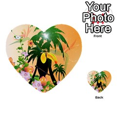 Cute Toucan With Palm And Flowers Multi-purpose Cards (Heart)