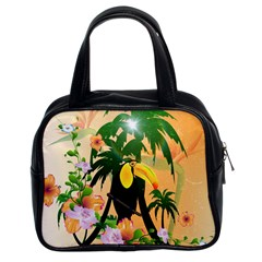 Cute Toucan With Palm And Flowers Classic Handbags (2 Sides)