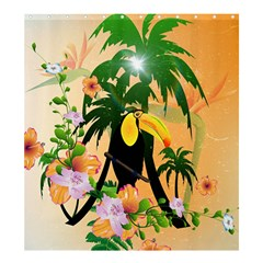 Cute Toucan With Palm And Flowers Shower Curtain 66  x 72  (Large)