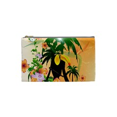 Cute Toucan With Palm And Flowers Cosmetic Bag (Small)