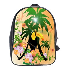Cute Toucan With Palm And Flowers School Bags(Large)